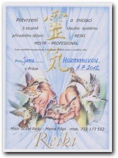 Certifikát Reiki mistr - profesionál