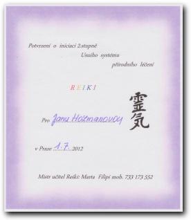 Certifikát Reiki druhý stupeň