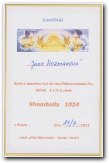 Certifikát Shamballa 1024 první a druhý stupeň